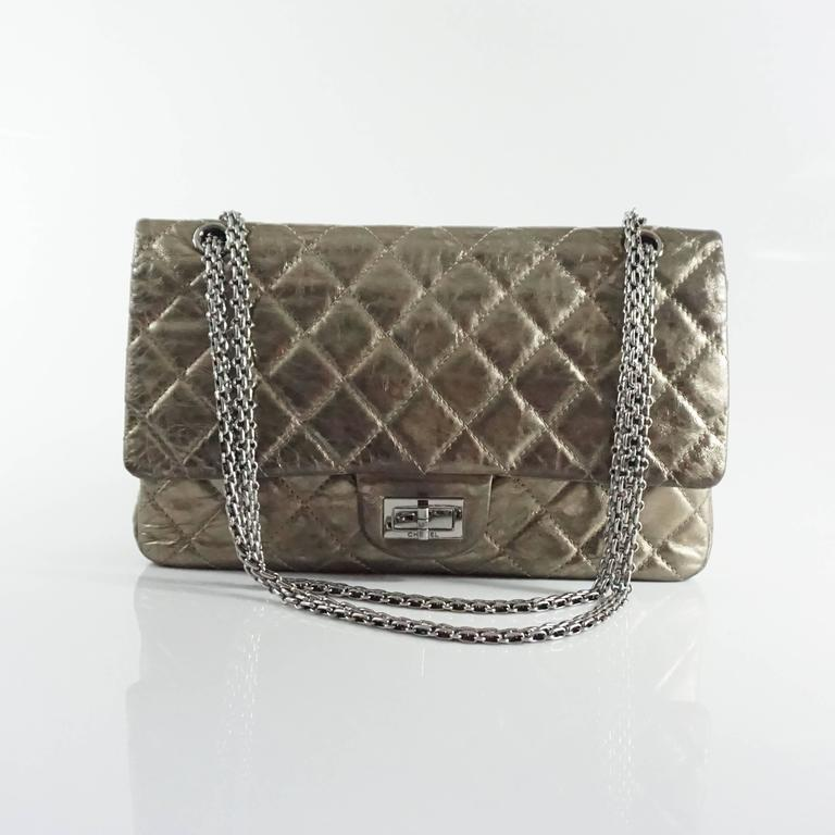 Chanel Pewter 2.55 Reissue 227 Double Flap Bag - 2006  For Sale 3