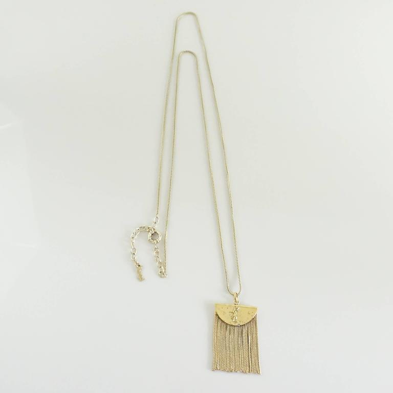 Yves Saint Laurent Golden Brass Fringe Pendant Long