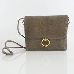 Hermes Olive Lizard Sequana Handbag - GHW - 1970's