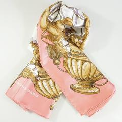 Roaches Pink, Gold, and Ivory Cherub Print Scarf