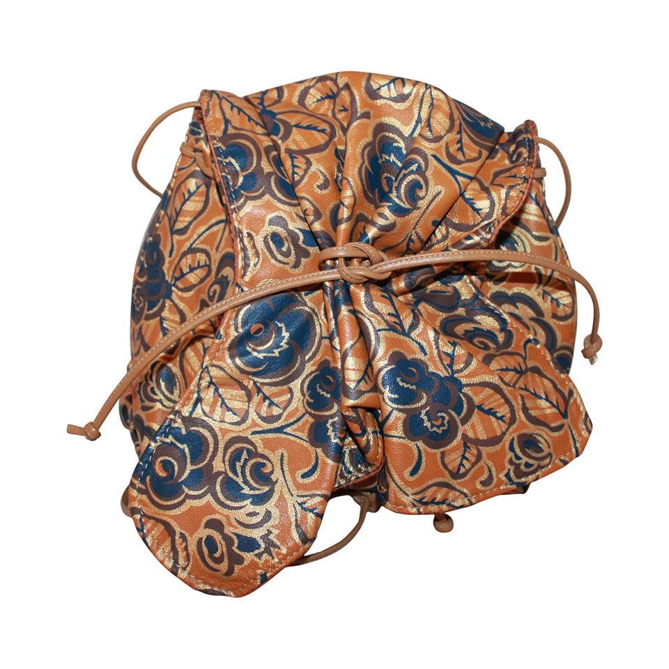 Carlos Falchi 1970u0026#39;s Camel Floral Print Leather Crossbody Bag At 1stdibs