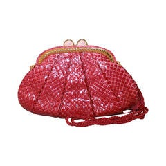 Judith Leiber Vintage Rasberry Snakeskin Evening Bag with Rope Handle