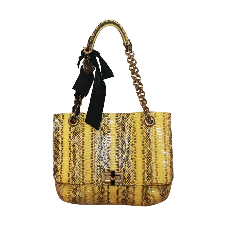 Lanvin Yellow Python Happy Style Handbag - retail $4,500 For Sale