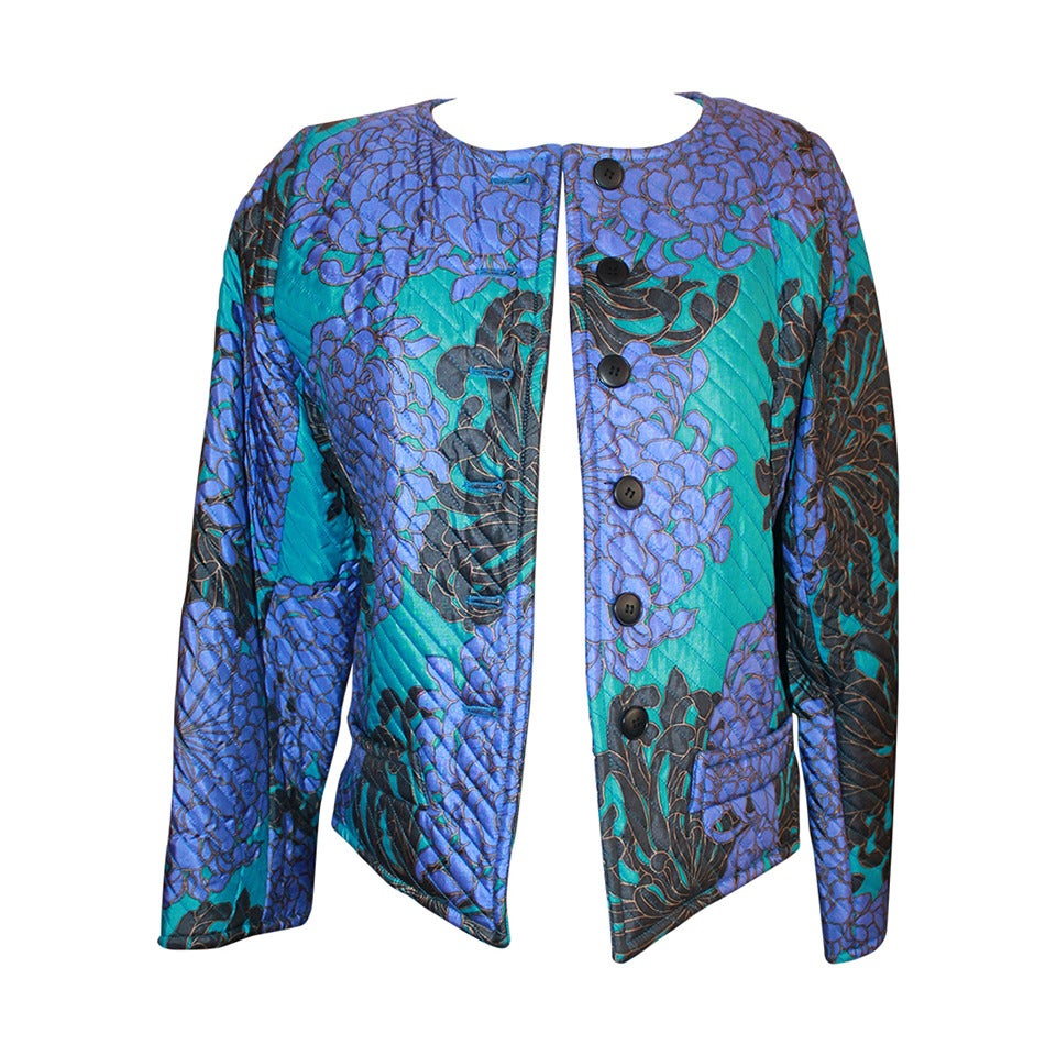 YSL 1960's Blue & Violet Floral Print Quilted Jacket - vintage size 42 For Sale