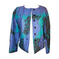 YSL 1960's Blue & Violet Floral Print Quilted Jacket - vintage size 42