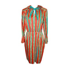 YSL 1960's Orange & Blue Striped Long Sleeve Dress - 6