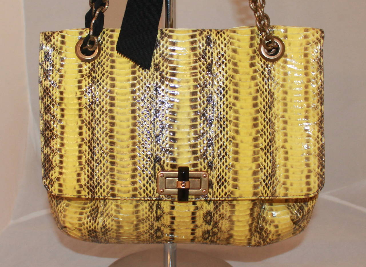 """Lanvin Yellow Python Happy Style Handbag - retail $4,500. This bag is in excellent condition with very little signs of wear.   Measurements: Length- 10"""" Width- 11.25"""" Depth- up to 4.5"""" Handle Drop- 8.25/16"""""""