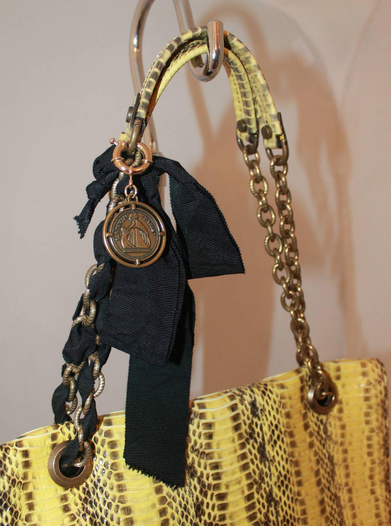 Brown Lanvin Yellow Python Happy Style Handbag - retail $4,500 For Sale