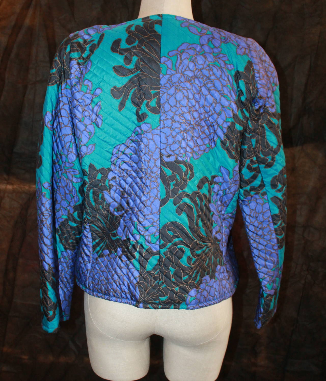 Women's YSL 1960's Blue & Violet Floral Print Quilted Jacket - vintage size 42 For Sale