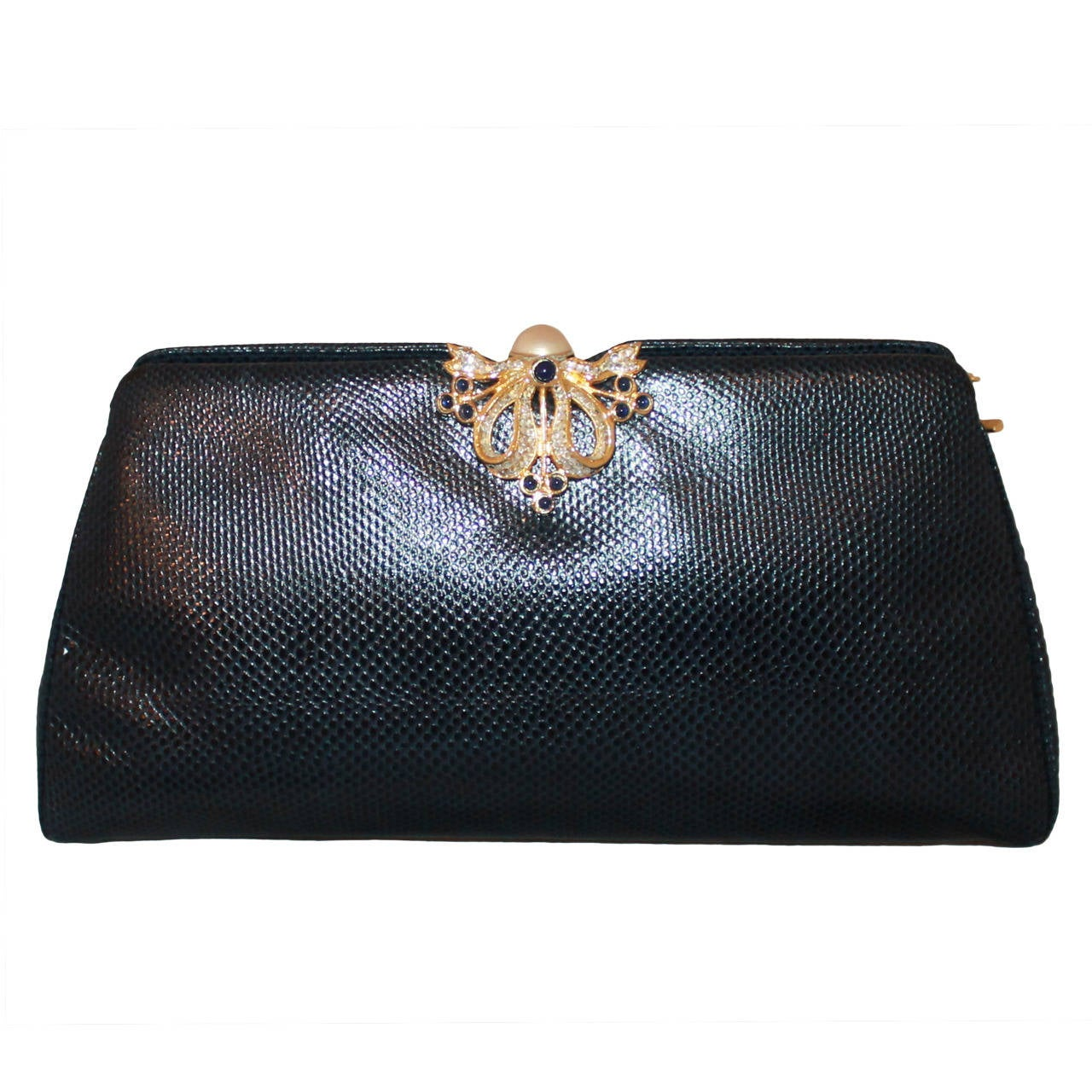 Judith Leiber 1980s Judith Leiber Black Lizard Bag 0d4is