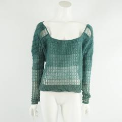 Christian Dior Blue Green Mohair Sweater - 44 - NWT