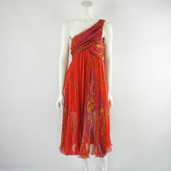 Christian Dior Red Printed One Shoulder Dress - 44