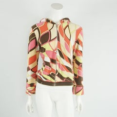 Pucci Coral, Green, and Brown Terry Cloth Jacket - 40