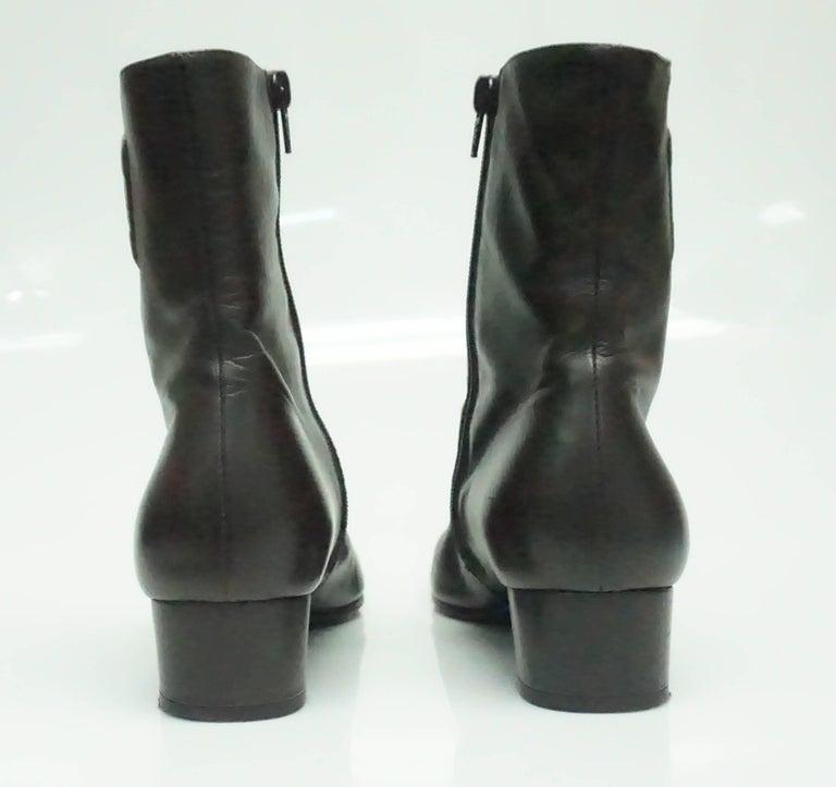 Black Salvatore Ferragamo Chocolate Brown Leather Short Boot - 9B For Sale