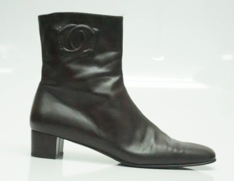 Salvatore Ferragamo Chocolate Brown Leather Short Boot - 9B  These short boots are all leather with a chunky 1.5