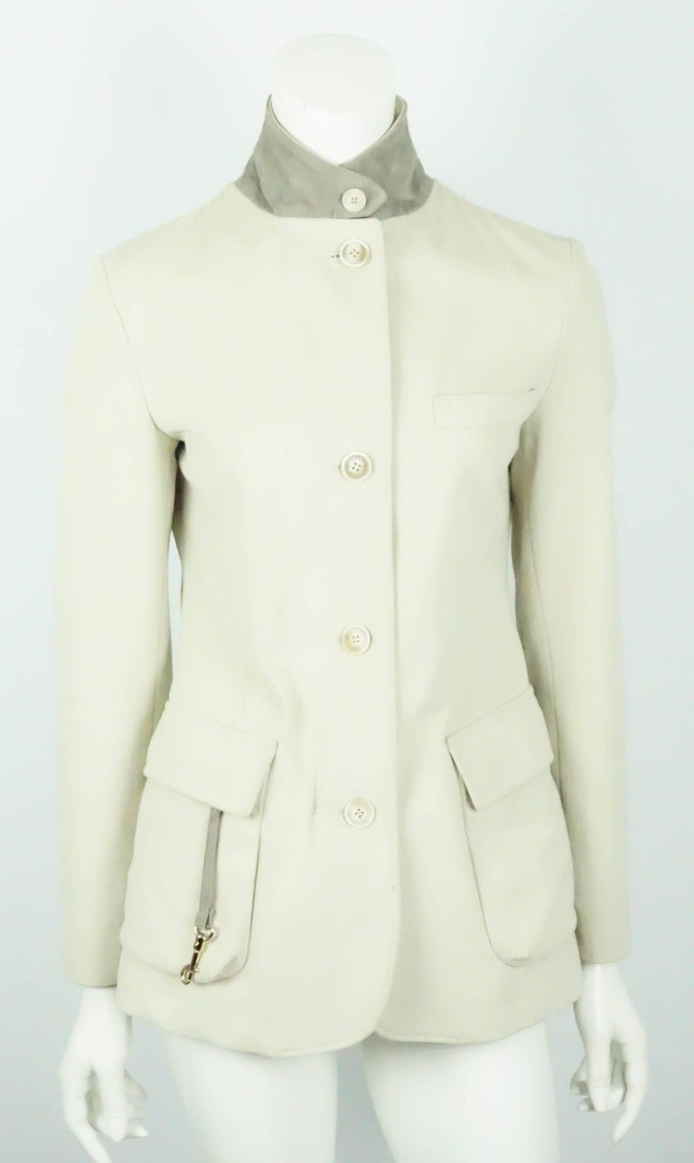 Loro Piana Tan Cotton Jacket - 38 In Excellent Condition For Sale In Palm Beach, FL