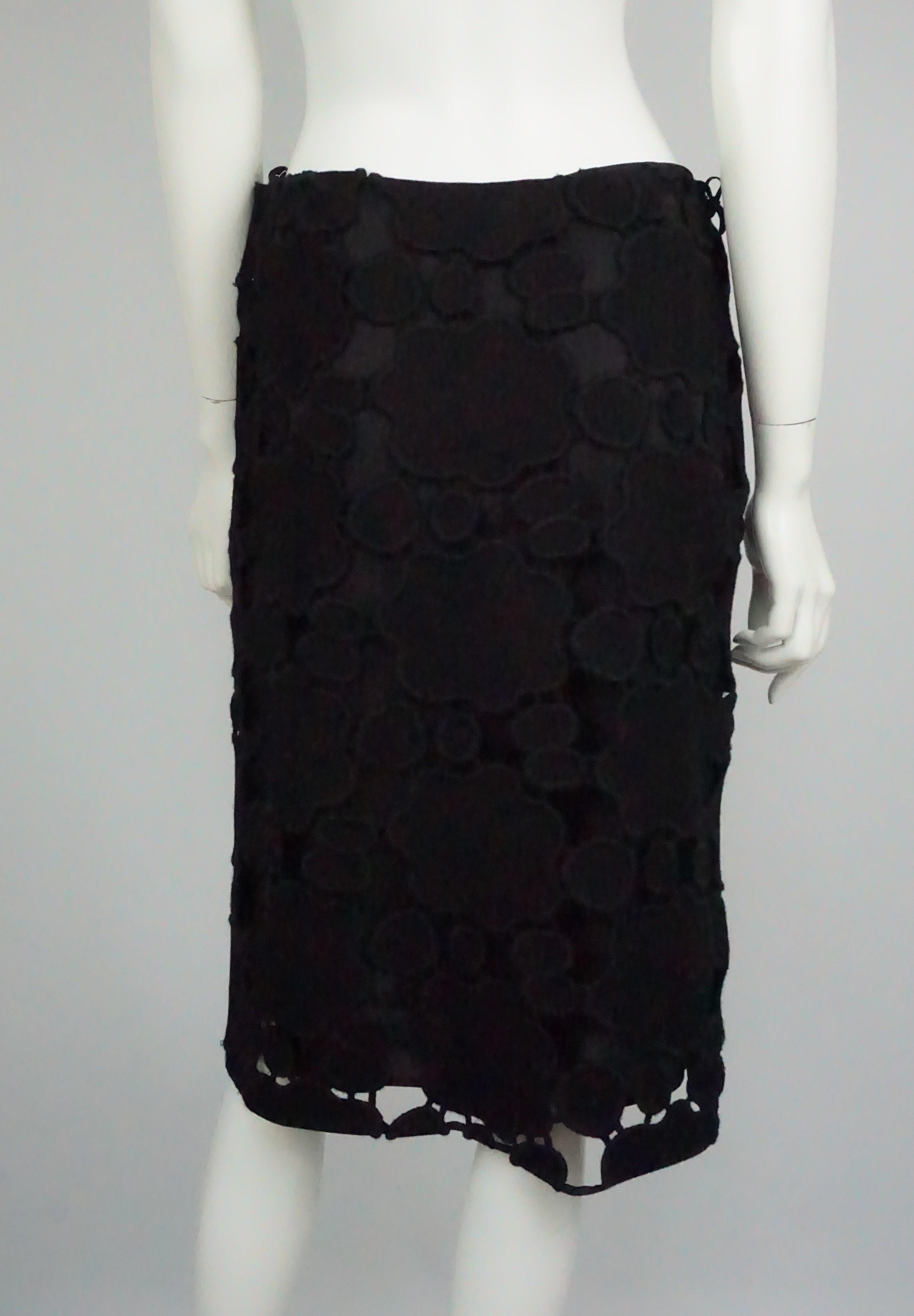 784b80cc5f25 Miu Miu Black Wool Cutout Skirt - 42 For Sale at 1stdibs