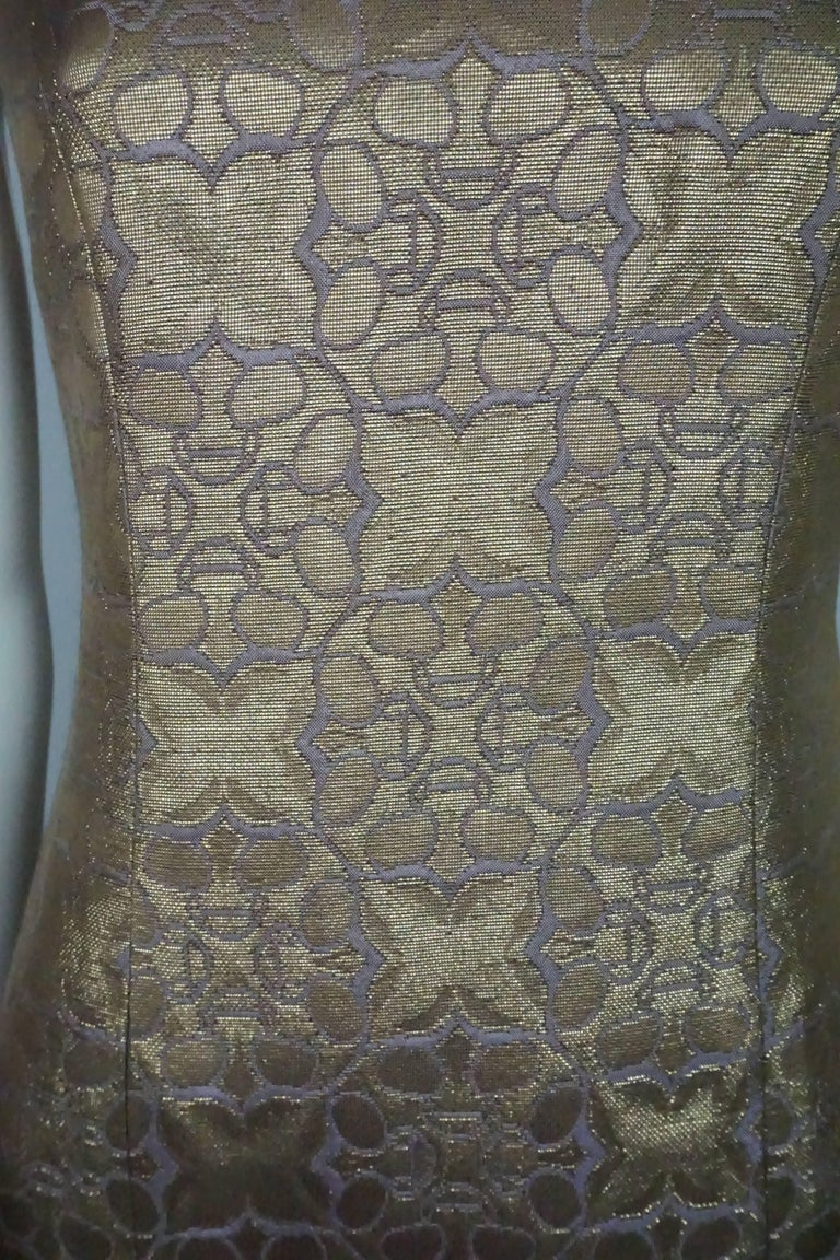 Carolina Herrera Gold and Purple Brocade Dress  In Excellent Condition For Sale In Palm Beach, FL