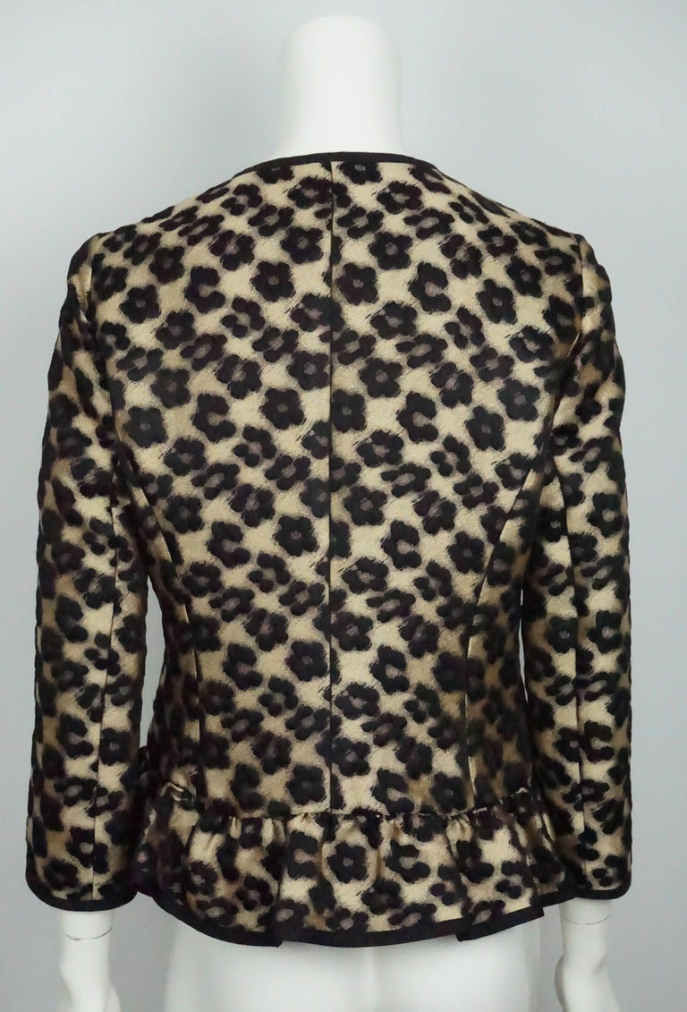 Red Valentino Gold and Black Leopard Print Wool/ Polyester Blend Jacket - 8 In Excellent Condition For Sale In Palm Beach, FL