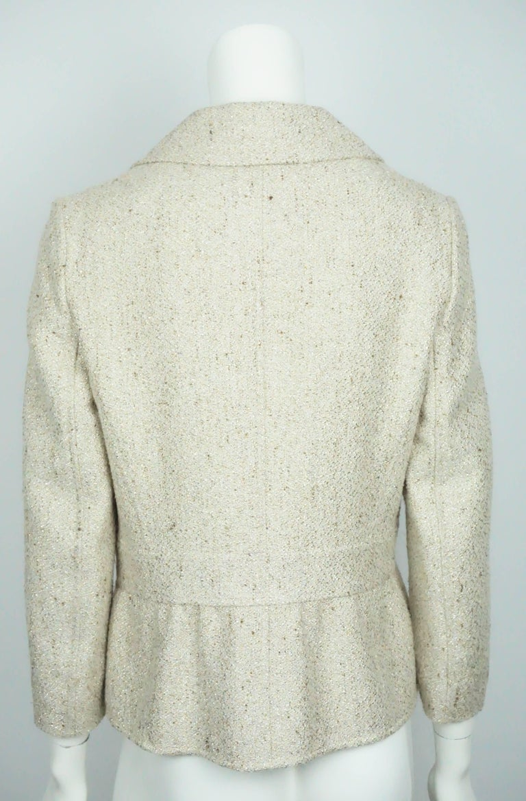 db3fa0bf87a Valentino Gold Metallic Wool Blend Jacket - 10 In Excellent Condition For  Sale In Palm Beach