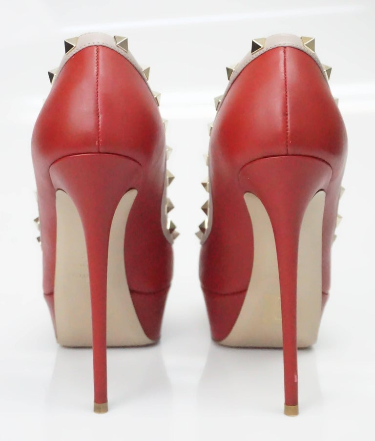 b161ed803e Women's Valentino Red and Nude Rock Stud Peeptoe Platform with Spiked Heel  - GHW - 38.5