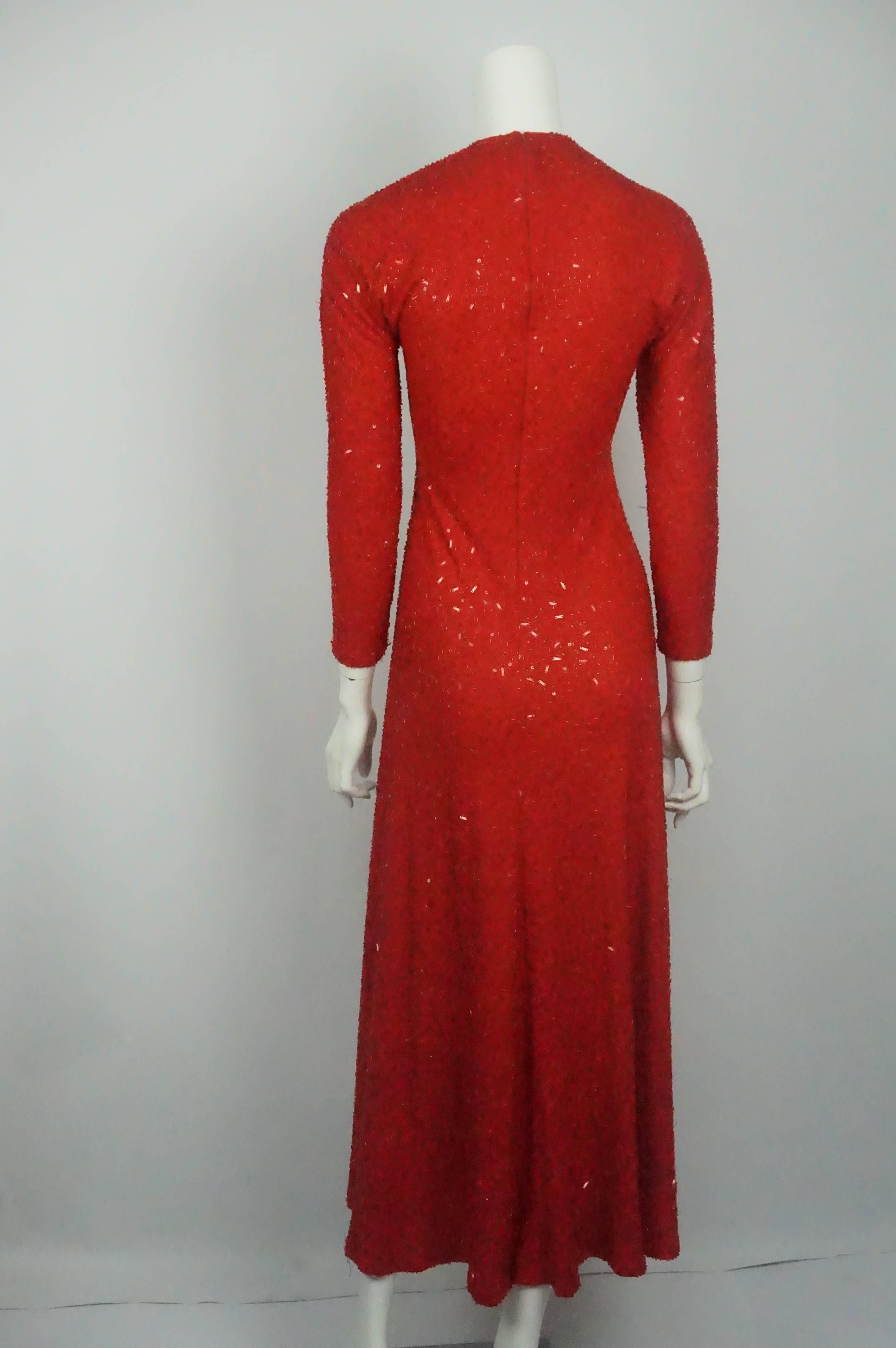 ea76c403f5a Naeem Khan Red Fully Beaded Long Sleeve Gown For Sale at 1stdibs