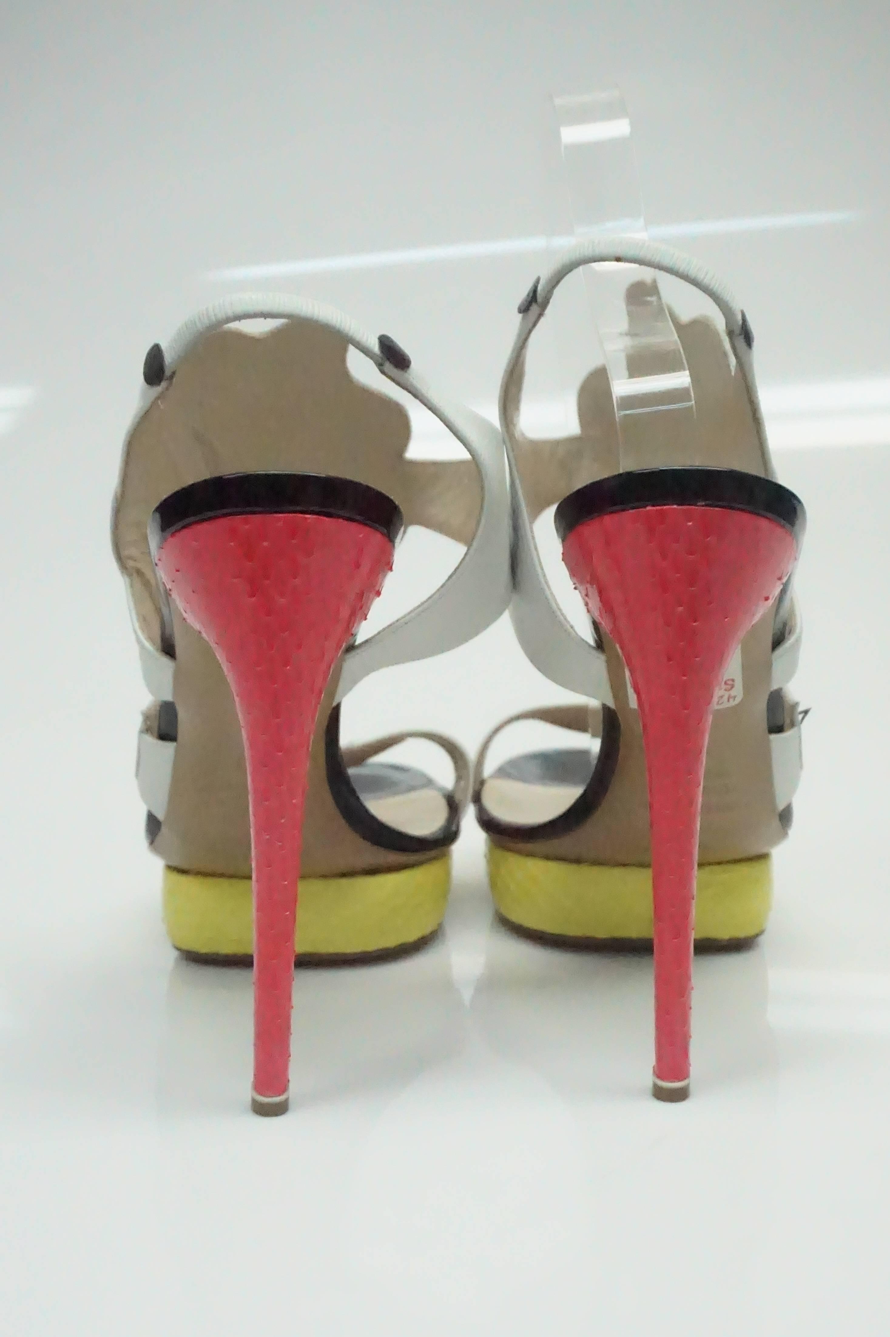 112b57182634 Nicholas Kirkwood Multi Floral Yellow   Pink Python Shoes For Sale at  1stdibs