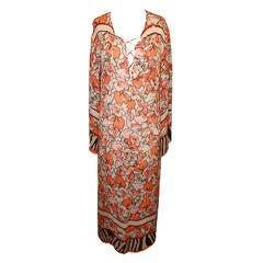 Cavalli Orange Floral & Animal Print Caftan - 46 - rt. $1,595