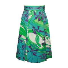 Pucci 1960s Blue & Green Floral Print Skirt - 10