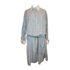 Chanel Sky Blue & White Striped Shirt Dress - L
