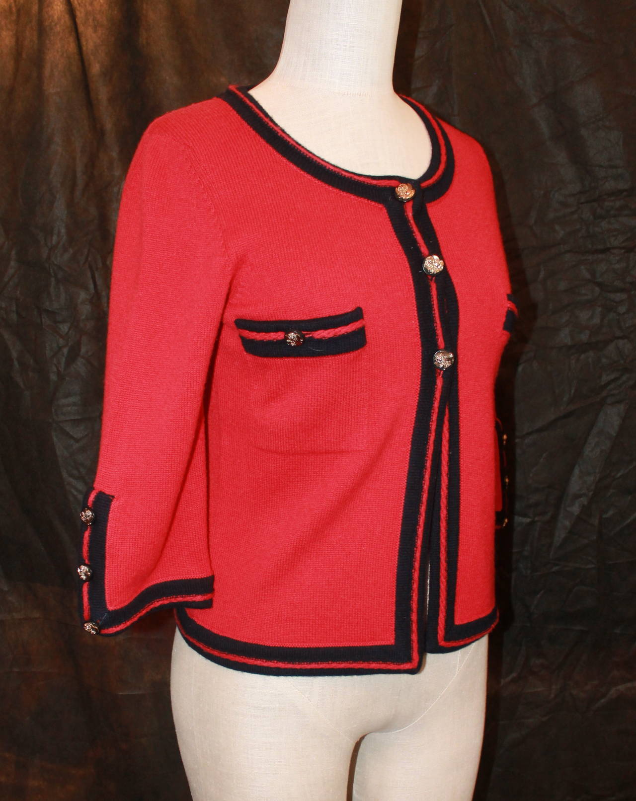 Chanel 1980s Red & Navy Cashmere Sweater 2