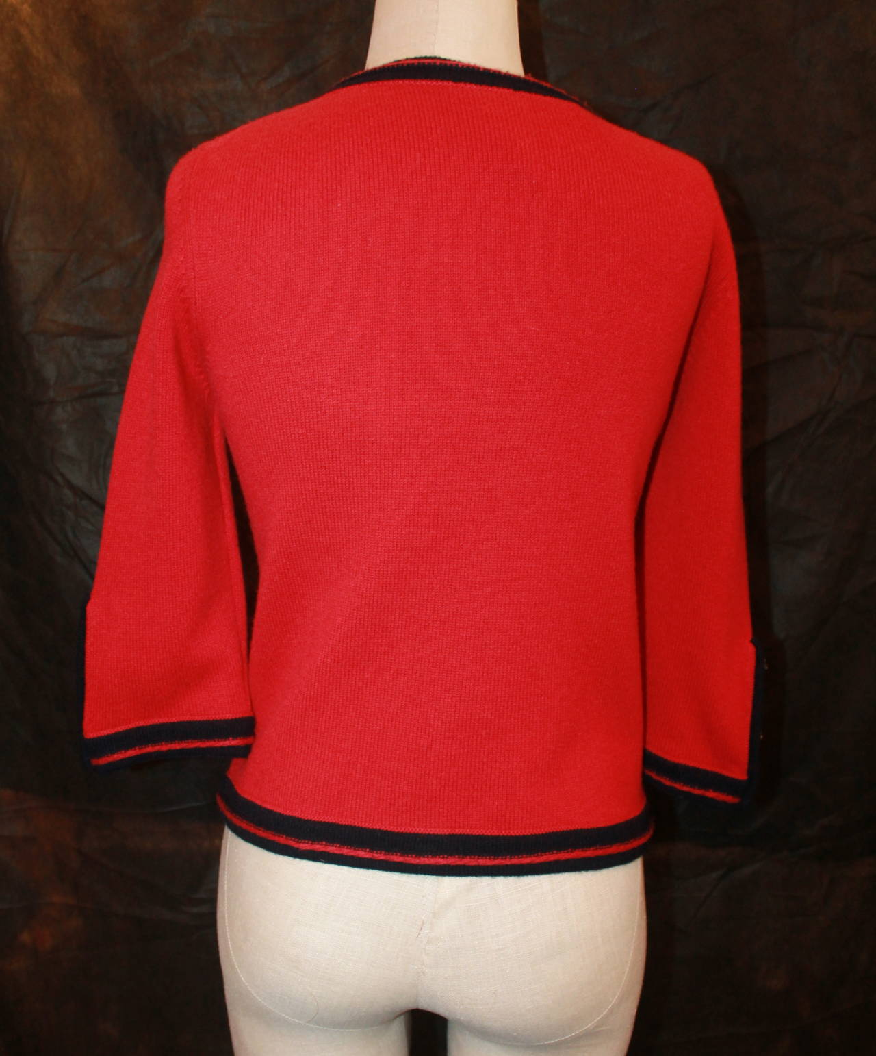 Chanel 1980s Red & Navy Cashmere Sweater 4