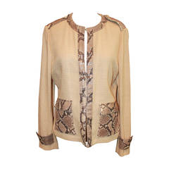 Dolce & Gabbana Tan Linen Jacket with Python Accents