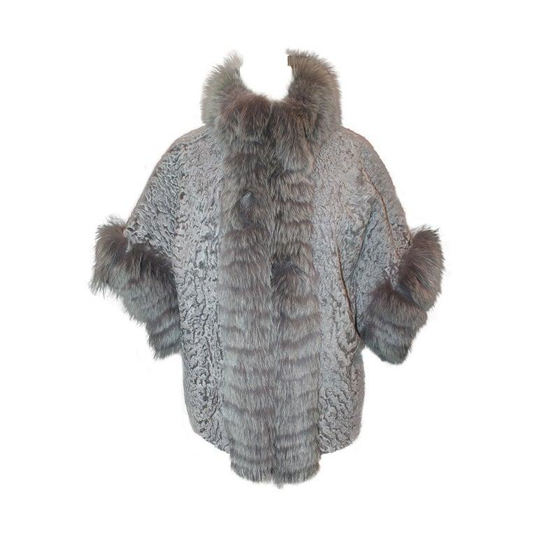 Olivia Preckel Grey Broadtail & Fox Fur Jacket - M For Sale