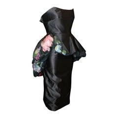 Bernard Perris 1980s Paris Black Satin Dress w/ Sheer Floral Topper