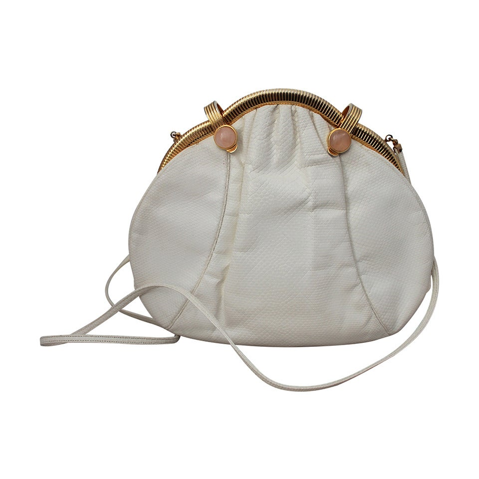 Judith Leiber 1980's White Lizard Evening Bag with Pink Stones