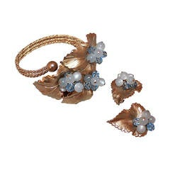 Napier 1950's Goldtone Vine with Blue Beads Cuff & Clip-on Earrings