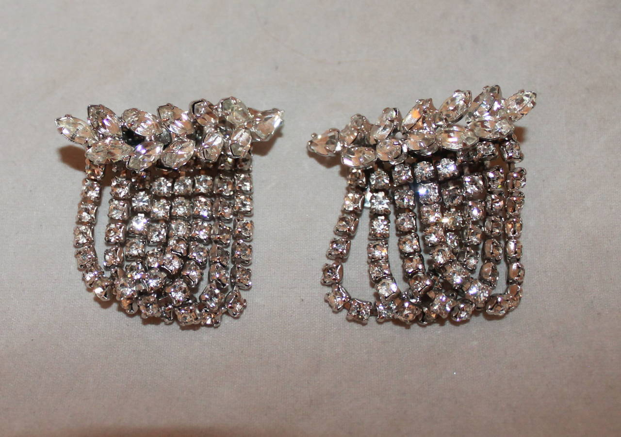 Vintage 1950's Rhinestone Choker & Clip-on Earrings Set 2