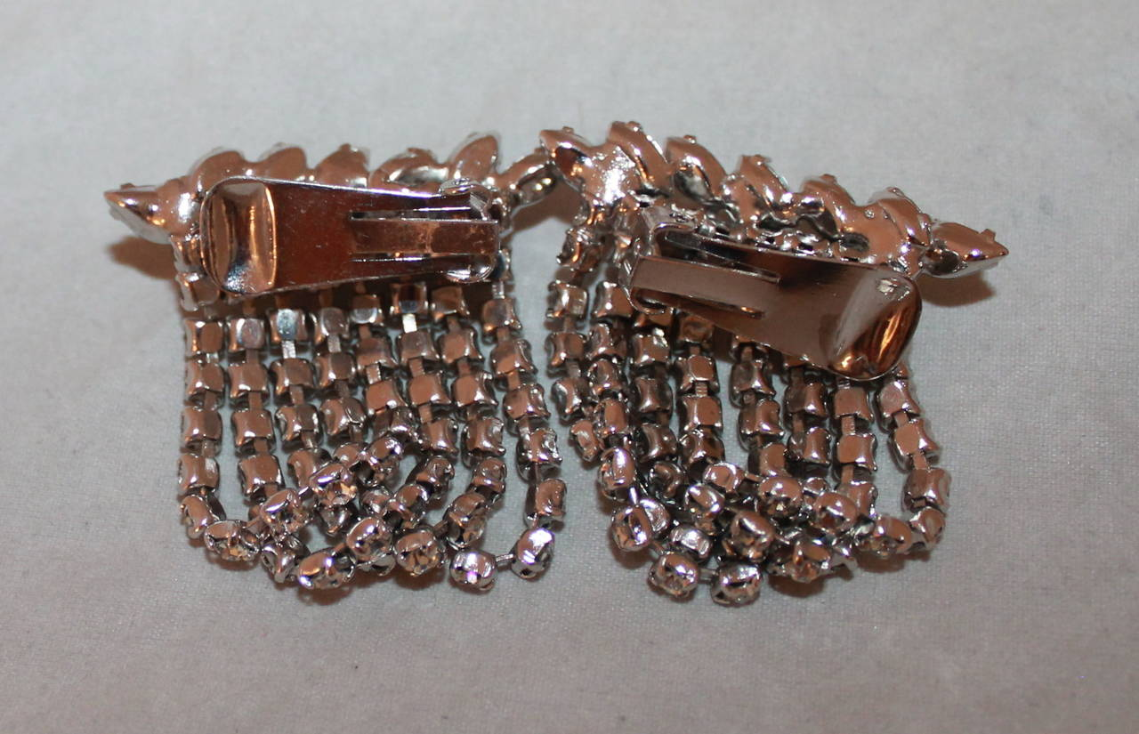 Vintage 1950's Rhinestone Choker & Clip-on Earrings Set 3