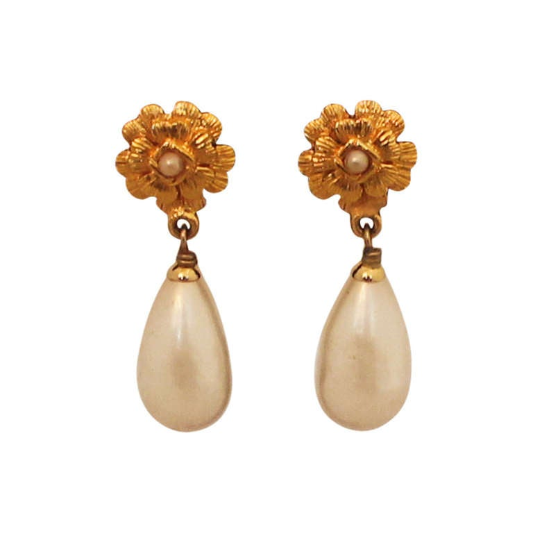 chanel vintage pearl drop earrings circa 1994 at 1stdibs
