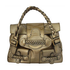 Valentino Gold Patent Leather Handbag with Braiding - rt. $1795