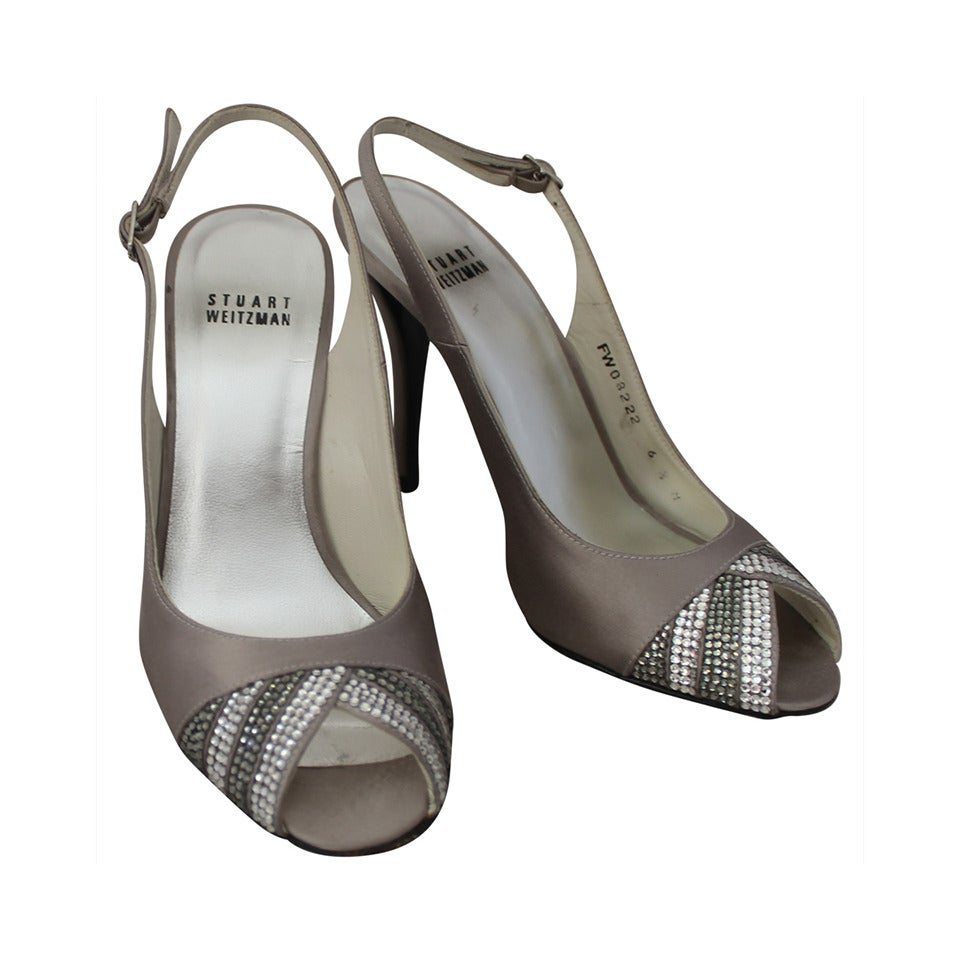Stuart Weitzman Silver Slingbacks with Swarovski Crystals - rt. $1100 - 6.5