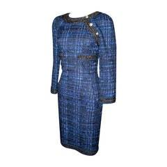 Chanel Navy Tweed Long Sleeve Dress - 34 - circa 2013