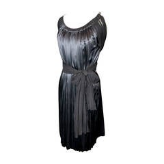 Lanvin Black Silk Chiffon Dress with Rhinestone Straps & Long Sashes