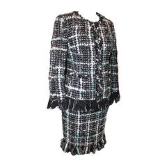 Chanel Blue, Silver, Black Tweed Skirt Suit with Fringe - 34 - cc 2013