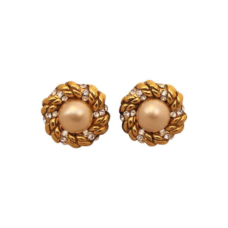 Chanel Goldtone, Pearl and Rhinestone Earrings - Circa 1986 For Sale