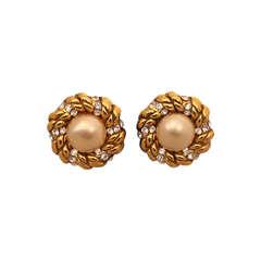 Chanel Goldtone, Pearl and Rhinestone Earrings - Circa 1986
