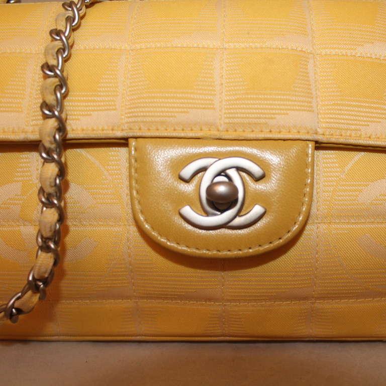Brown Chanel Yellow Nylon Single Flap Handbag- Circa 2002 - SHW For Sale