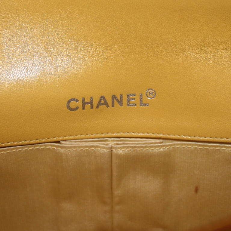 Chanel Yellow Nylon Single Flap Handbag- Circa 2002 - SHW For Sale 1