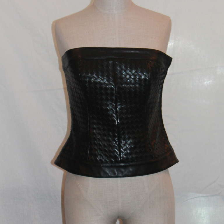 Bottega Veneta Black Leather Woven Bustier - 42 2